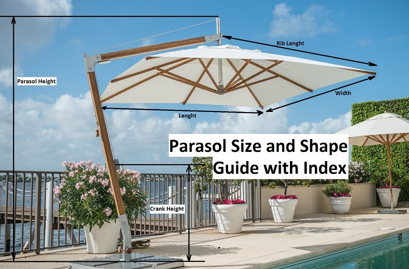 Parasol Size and Shape Guide - Index for all Shade Specialists Umbrellas