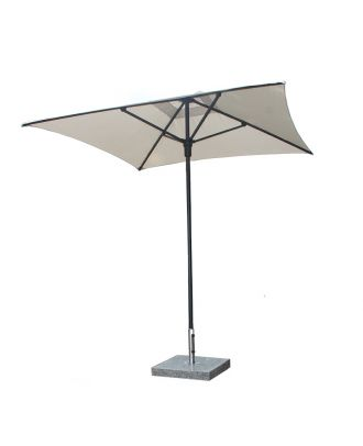 2m square parasol stellar cafe with black frame white canopy and granite base
