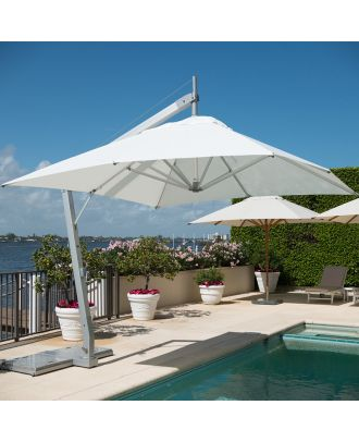white heavy duty cantilever parasol on pool side