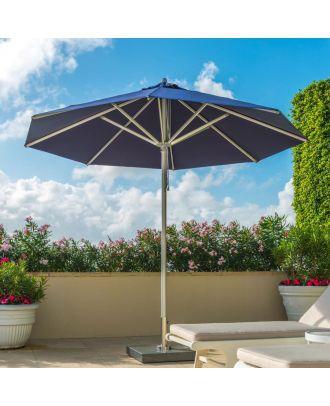 aluminium parasol with blue canopy