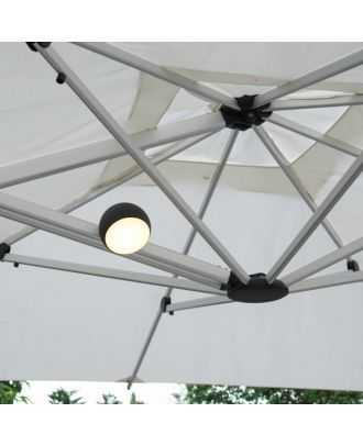 outdoor waterproof led light mounted on a parasol rib under canopy