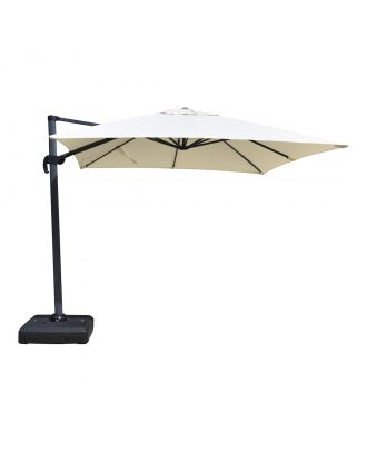 free arm parasol with white square canopy and water base in normal position opened