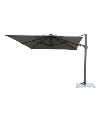 3m square cantilever parasol with grey frame and canopy unfolded