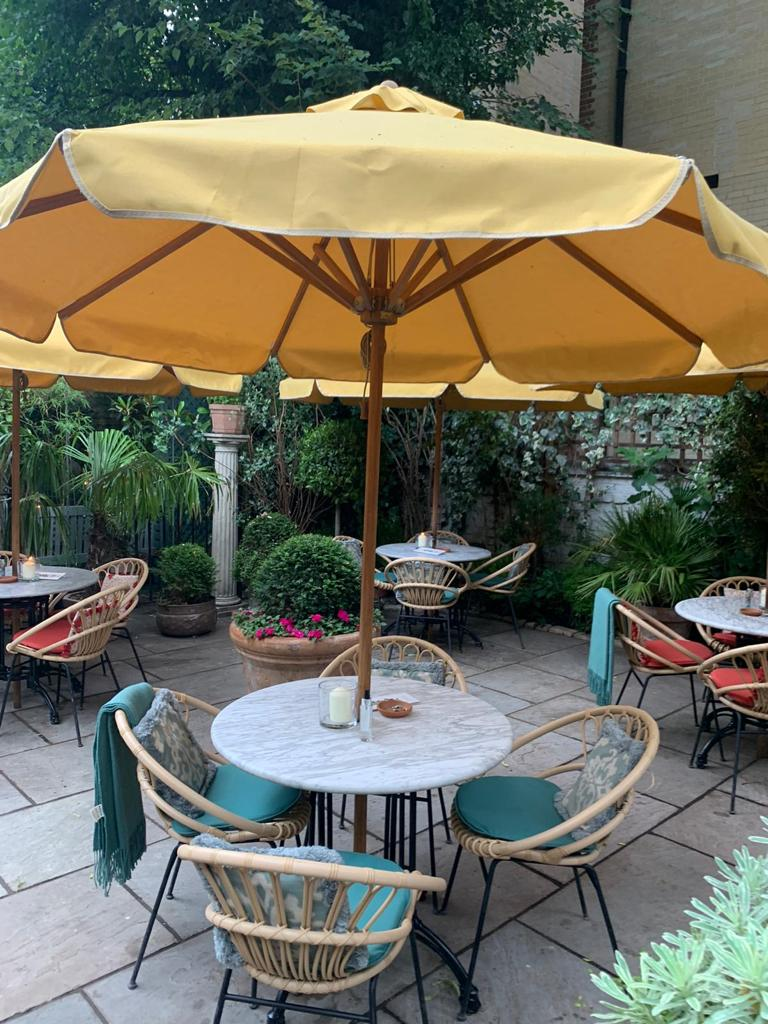 Bambrella Levante 2.5m Round Parasol - Ivy Restaurant, Covent Garden, London.