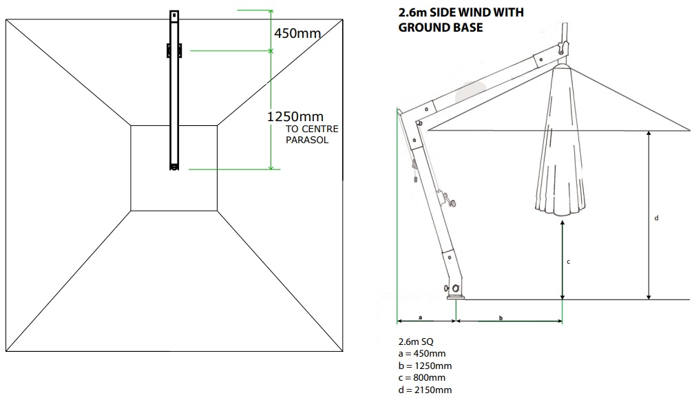 small cantilever parasol measurements with in ground base