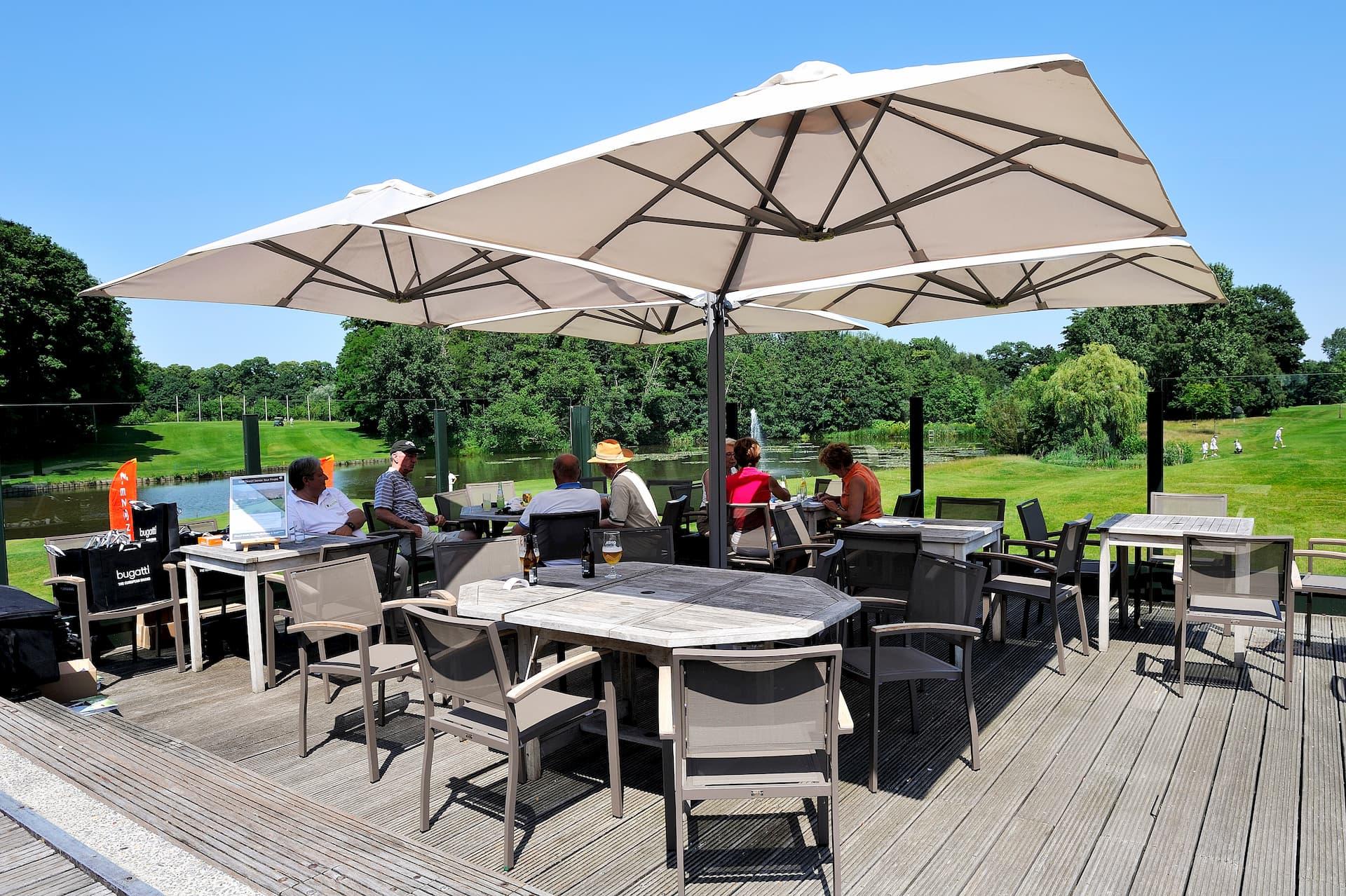 cantilever parasol on golf club terrace