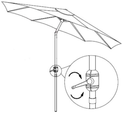 operating tilting garden parasol - drawing
