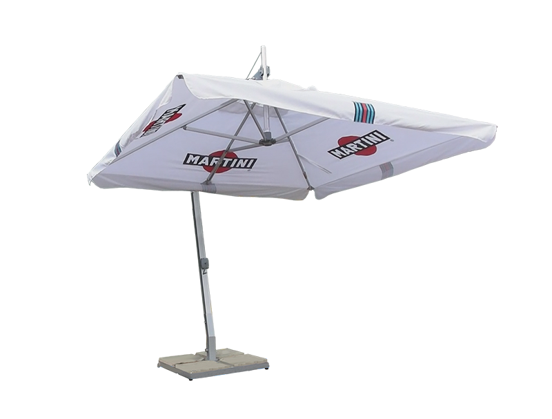 martini branded white parasol
