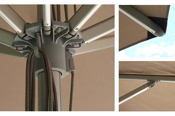 aluminium parasol parts - ribs, hub and tip of ribs