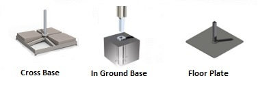 fixations and bases - metallic, in ground, floor plate