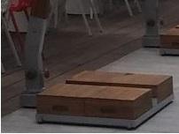wooden base frame with tiles for cantilever parasol