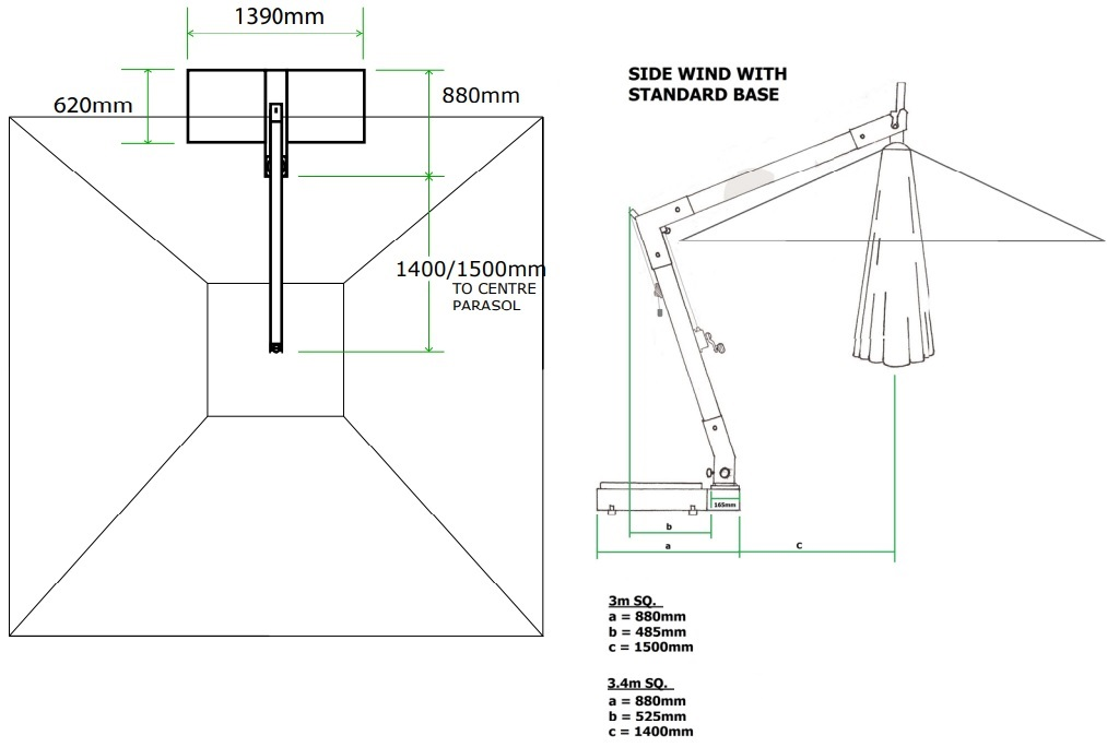 hurricane side wind base specs and drawing