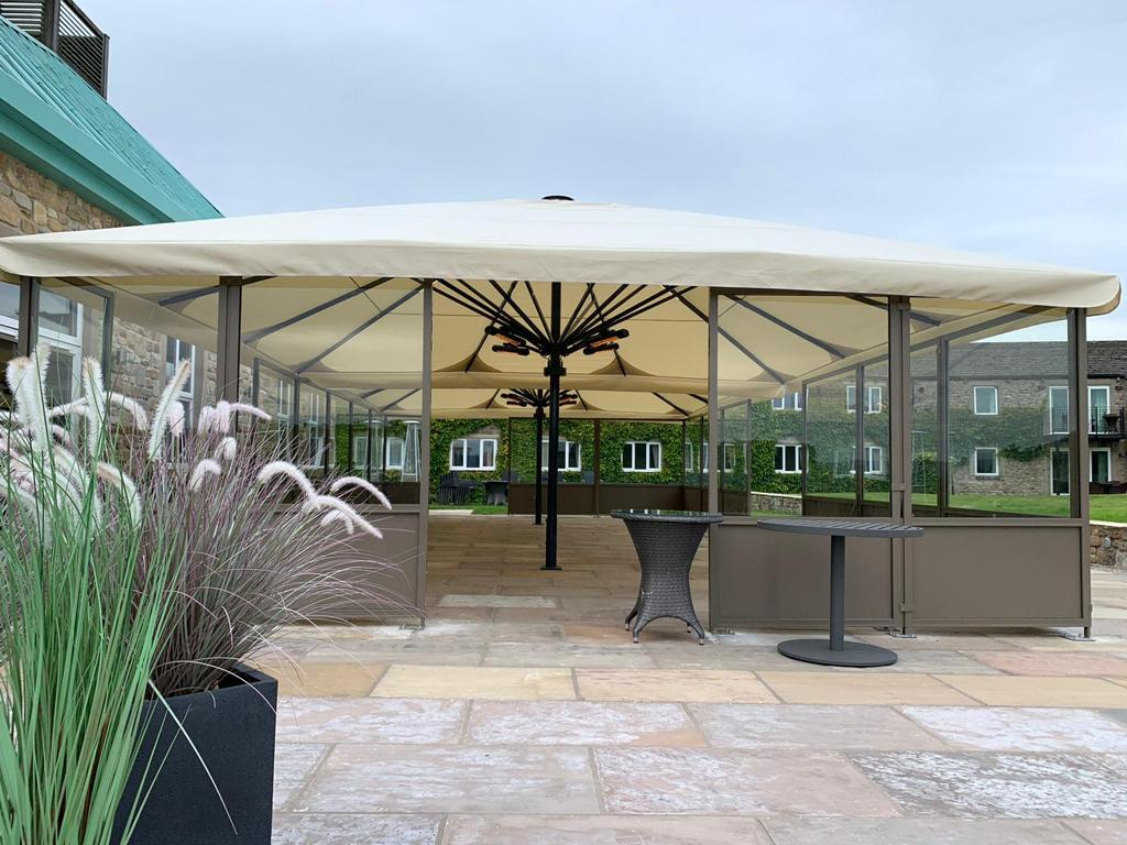 large commercial parasol for restaurant with side screens