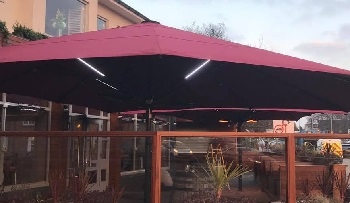 giant parasol with lights