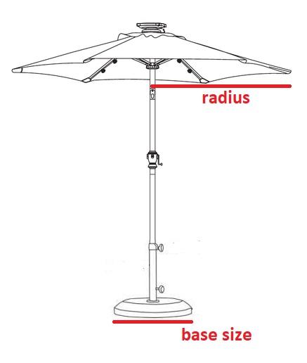 small balcony parasol diagram with portable base