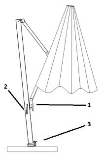 4m cantilever parasol drawing detailes