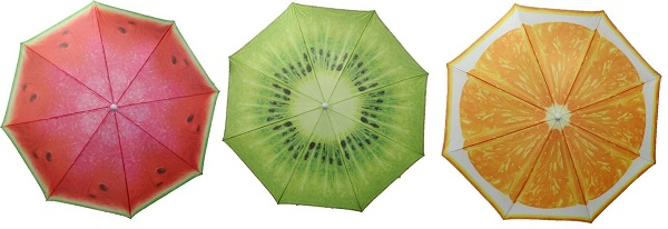 red, green, yellow printed parasol canopies - with fruit section print