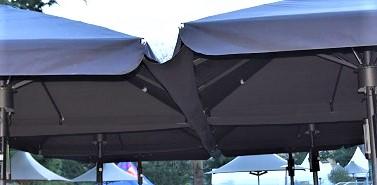 rain gutters in between parasols