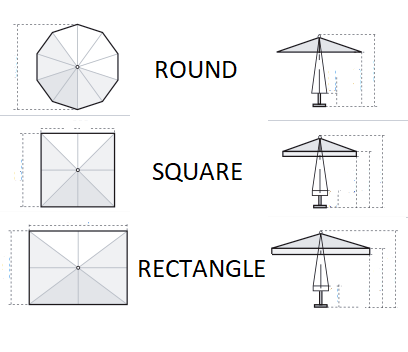parasol canopy shapes - round, square, rectangle