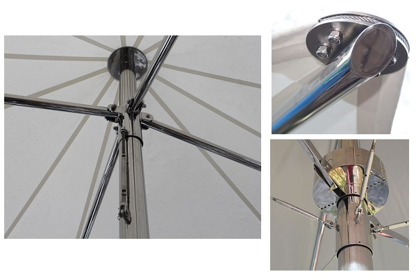 stainless steel parasol parts - frame, ribs and hub