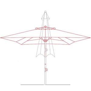 telescopic parasol drawing